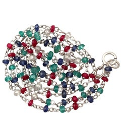 Contemporary 2009 Diamond, Sapphire, Ruby, Emerald and White Gold Necklace