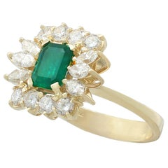 1980s Emerald 1.32 Carat Diamond Yellow Gold Cocktail Ring