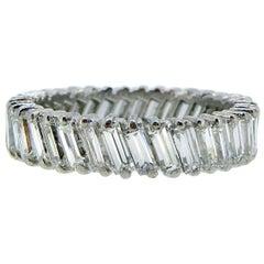 3.70 Carat Diamond Wedding Band, Baguette Cut Diamonds, French Hallmark