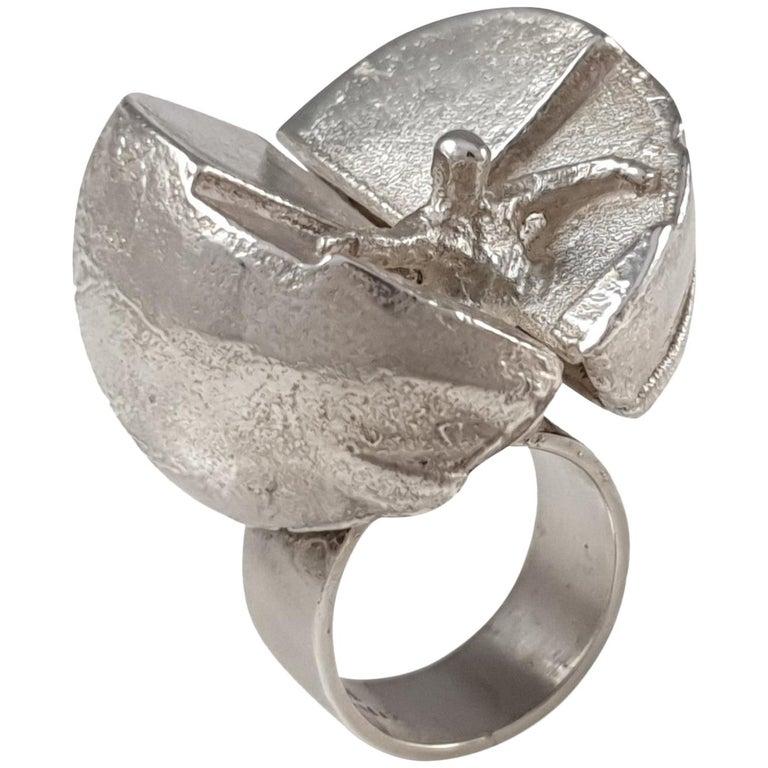"Sterling Silver Modernist ""Ikaros"" Ring Björn Weckström Lapponia, Finland, 1969 For Sale"