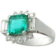 1970s 3.05 Carat Emerald Diamond White Gold Cocktail Ring