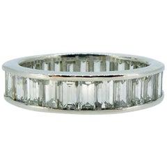 4.0 Carat Diamond Eternity Wedding Ring, Baguette Cut Diamonds, White Gold