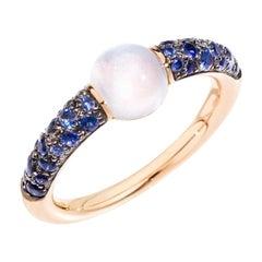 Pomellato rin ring M´Ama no M´Ama 18kt rose gold w/ adularia & blue saphires