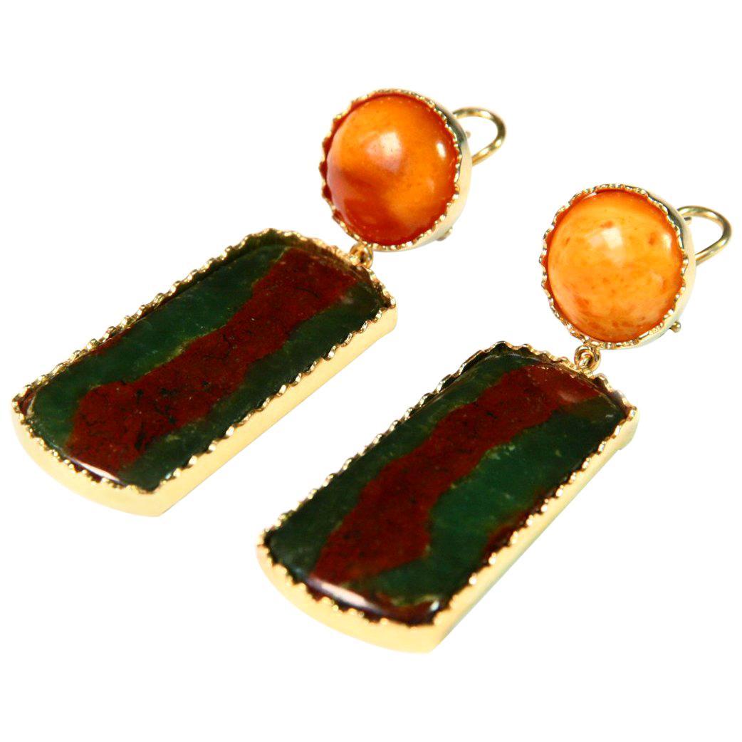 Baltic Amber Jasper 18 Karat Gold Earrings