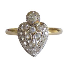 Antique Victorian Gold Silver Diamond Heart Ring