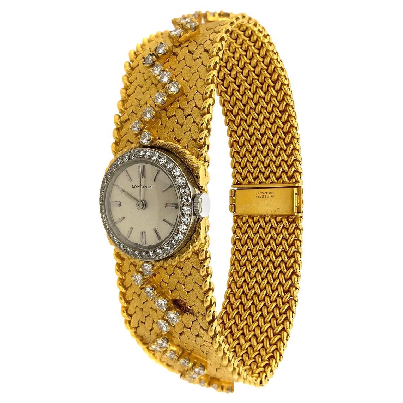 Cartier 18 Karat Yellow Gold Diamond Longines Movement Wristwatch