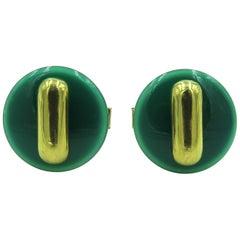 Cartier Green Onyx and Gold Cufflinks