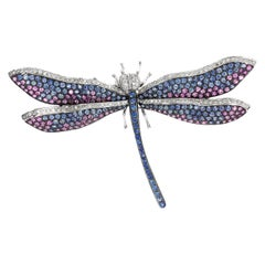 Contemporary Dragonfly Multicolored Blue and Pink Sapphire Diamond Brooch