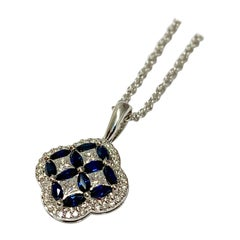 White Gold 1.79 Carat Total Weight Sapphire and Diamond Necklace