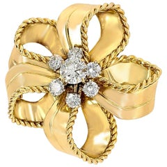 Cartier 18 Karat Yellow Gold and Diamond Flower Brooch