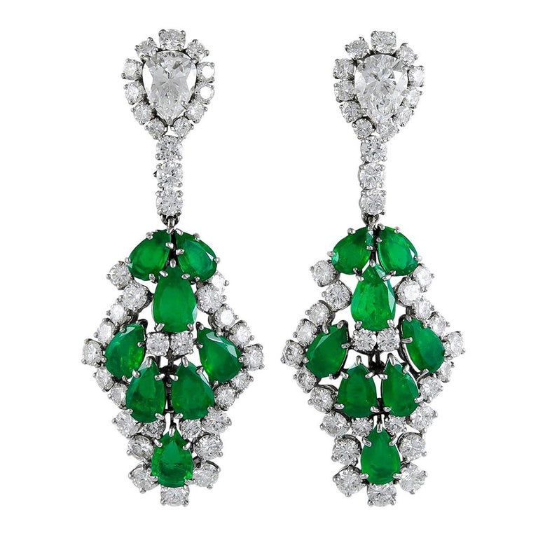 Harry Winston pear-shaped emerald and diamond earrings, 1960s, offered by Yafa Signed Jewels