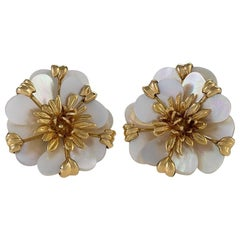 Cartier Gold and Mother of Pearl Flower Earrings