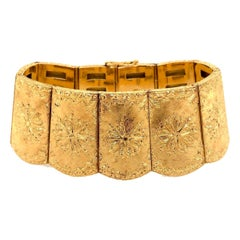 Cazzaniga 18 Karat Yellow Gold and Emerald Wide Bracelet