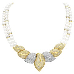 Double-Strand Pearl and Diamond Necklace