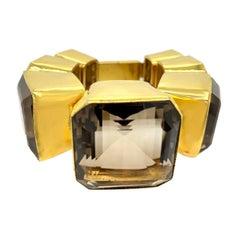 Tony Duquette Spectacular Large Size Smoke Topaz Gold Plated Bracelet