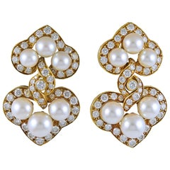 Van Cleef & Arpels Diamond, Nine Pearls Ear Clips