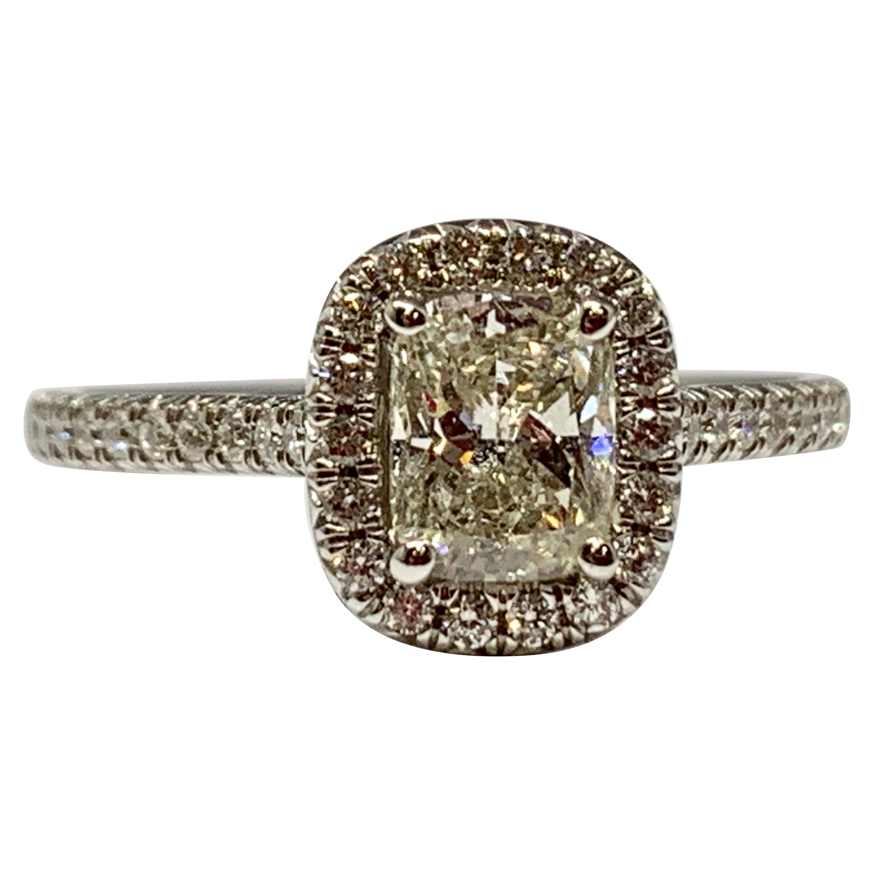 White Gold Cushion Cut Ags Certified Diamond Engagement Ring