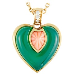 Cartier Diamond, Coral, and Chrysoprase Heart Yellow Gold Pendant Necklace