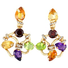 Chanel Diamond, Amethyst, Garnet, Citrine, and Peridot Yellow Gold Earrings