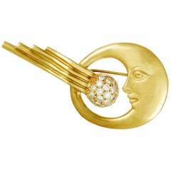Kieselstein-Cord Diamond Crescent Moon Comet Yellow Gold Brooch