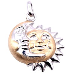 Sterling Silver Two-Tone Sun and Moon Pendant