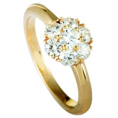 Van Cleef & Arpels Diamond Flower Yellow Gold Band Ring