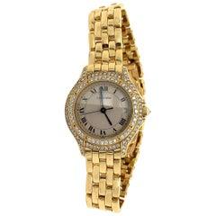 Cartier 18 Karat Yellow Gold Set with 2 Carat Round Brilliant Diamond Watch