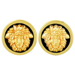 Versace Vintage Enamel Medusa Yellow Gold Clip-On Earrings