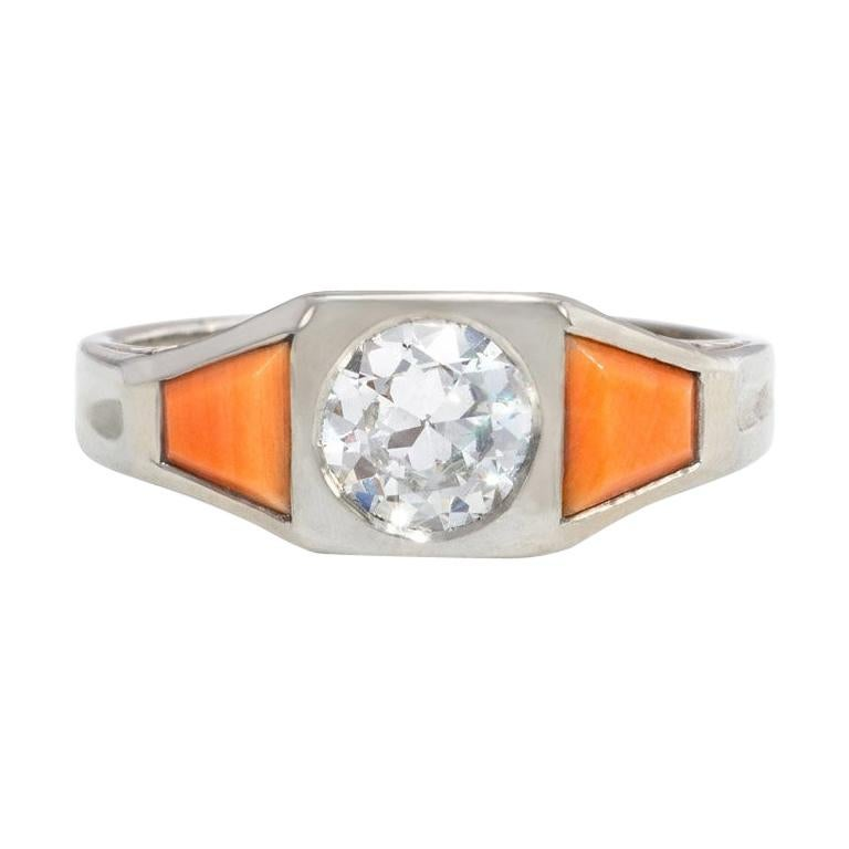 French Art Deco White Gold, Coral, and Diamond Ring