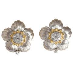 18 Karat Tow-Tone Gold Diamond Earrings