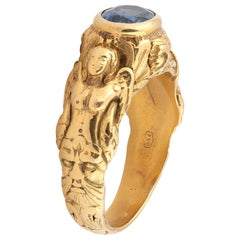 Sapphire Gold Faun and Virgin Ring