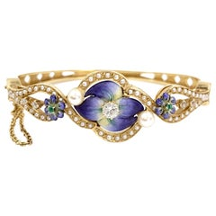 Enamel, Diamond, Pearl and Emerald Floral Bangle Bracelet