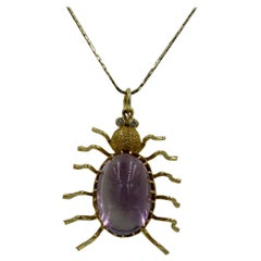 10 Carat Amethyst Diamond Spider Insect Pendant Vintage Modern Gold