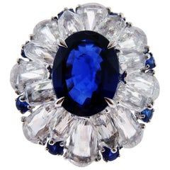 Certified 5.11 Carat Sapphire Diamond 18 Karat White Gold Ring