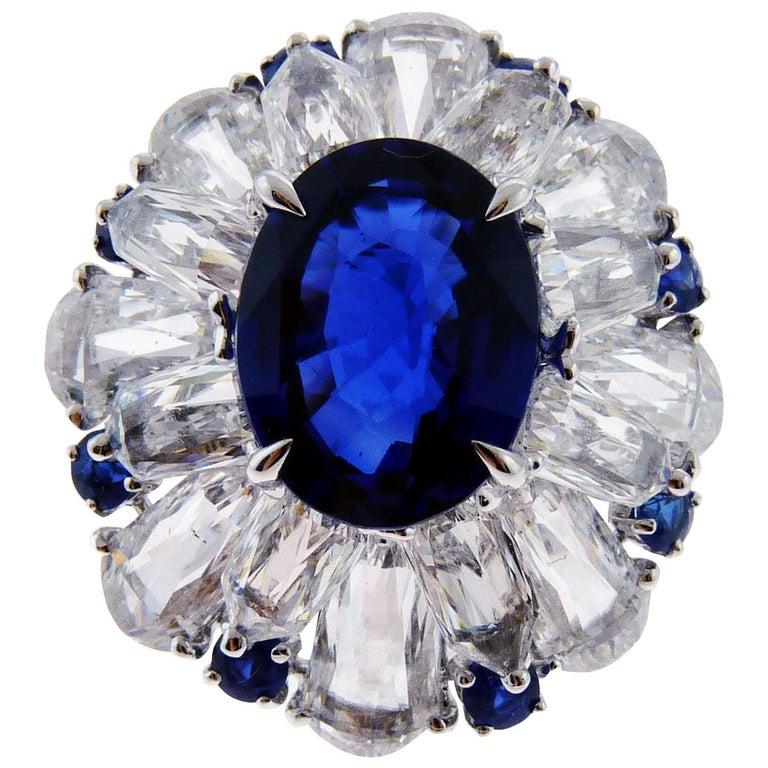 Certified 5.11 Carat Sapphire Diamond 18 Karat White Gold Ring For Sale