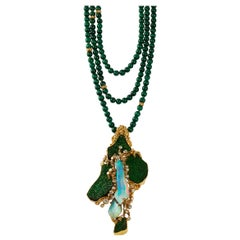 1970s Gilbert Albert Malachite, Opal, Diamond and Gold Necklace