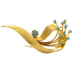 Solid 18 Karat Yellow Gold Genuine Turquoise and Ruby Brooch 9.5g