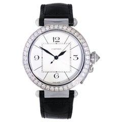 Cartier Pasha White Gold Diamond Bezel Wristwatch