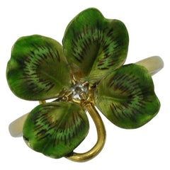 Diamond Enamel Clover Shamrock Flower Ring Antique Victorian 14 Karat Gold
