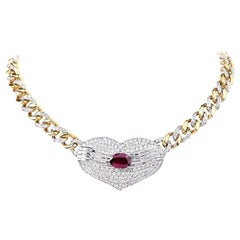 1970s Oval Ruby Diamond Heart Pendant Link Choker Necklace