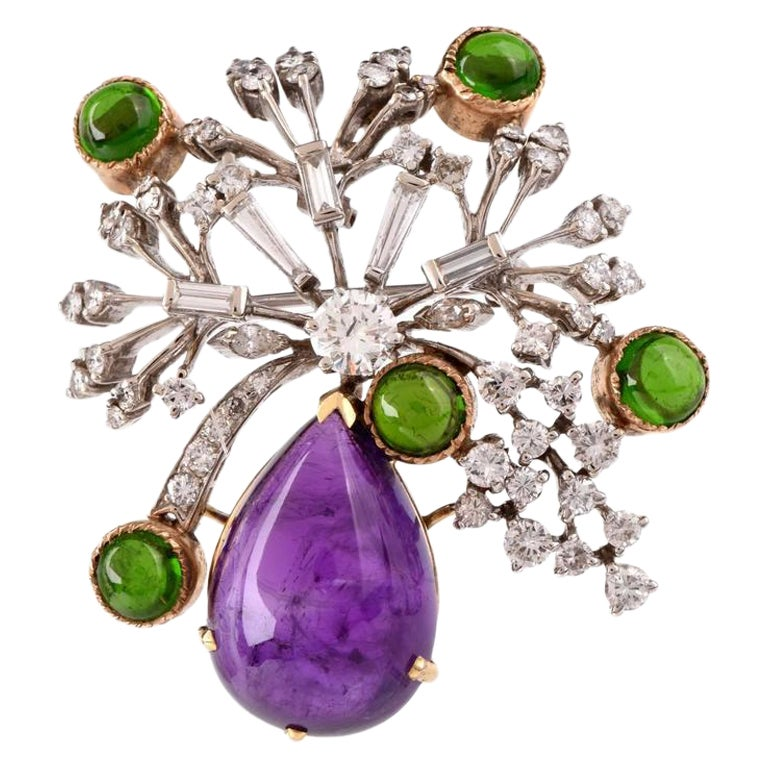 Amethyst Diamond Tourmaline Floral Gold Pin Brooch