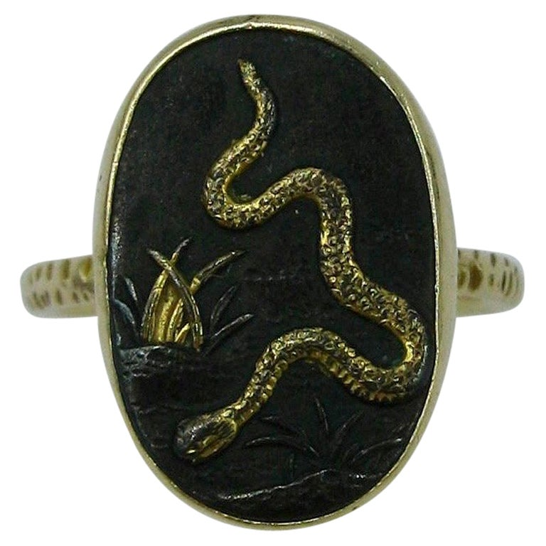 Rare Japan Shakudo Snake Ring 14 Karat Gold Antique Victorian Samurai circa 1870