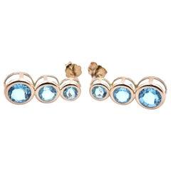 14 Karat Yellow Gold Blue Topaz Drop Earrings