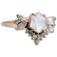 Hexagon Moonstone Butterfly Diamond Ring