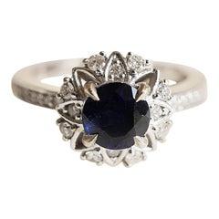 1.05 Carat Sapphire Diamond White Gold Engagement Ring