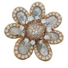Modern Diamond Gold Flower Ring