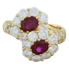 Ruby Diamond Gold Twin Ring