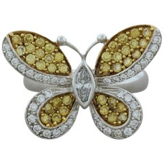 Fancy Yellow Diamond Gold Butterfly Ring