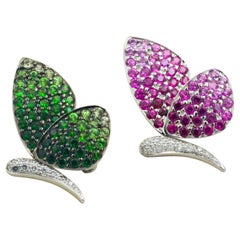 18 Karat White Gold Pink Sapphire, Tsavorite and Diamond Butterfly Pins