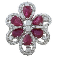 Ruby Diamond Gold Flower Cocktail Ring